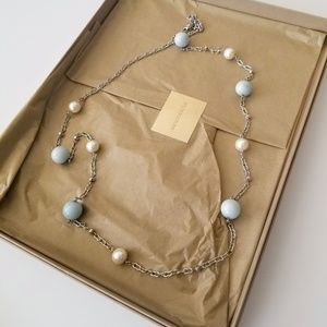 Talbots Sliver Necklcae with Blue and White Beads